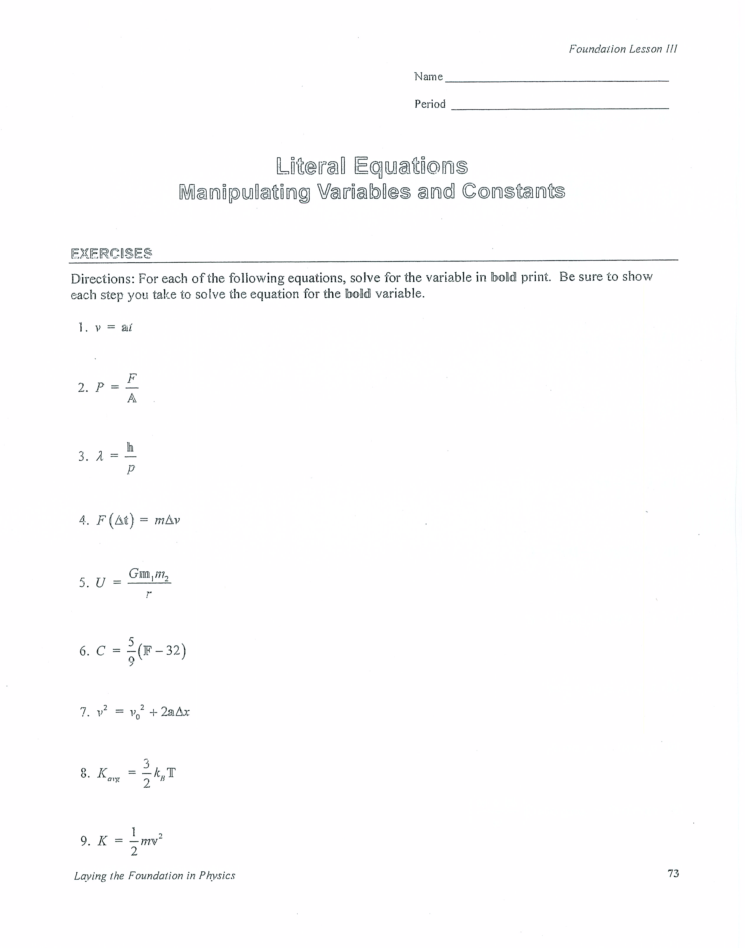Literal Equation Worksheet Free Worksheets Library – Solving Literal Equations Worksheet